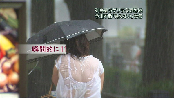【透け画像】自然の力により露わになった女達の下着がこちら! 10