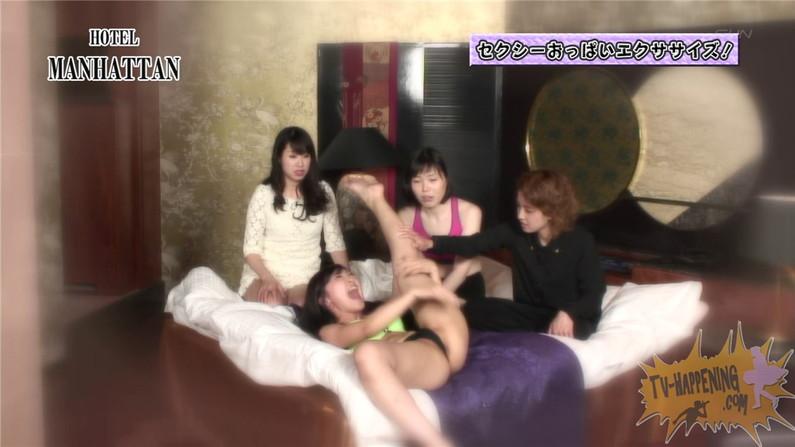 【お宝エロ画像】バコバコTVの「オッパイエクササイズ」とか言うコーナーでもろにハミマンするハプニングが!! 09