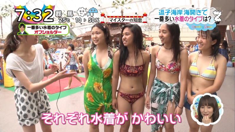 【水着キャプ画像】今年もそろそろこの時期がやって来ました!テレビで紹介、水着美女のオッパイwww