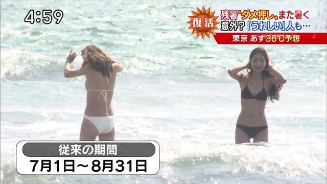 【水着キャプ画像】テレビに映るビキニ美女の豊満なオッパイがぐぅシコすぎてやばいんだがwww 11