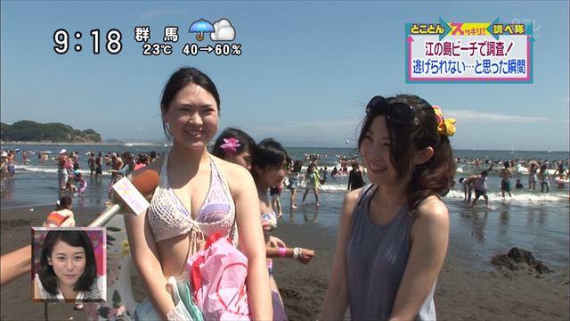 【水着キャプ画像】テレビに映るビキニ美女の豊満なオッパイがぐぅシコすぎてやばいんだがwww 14