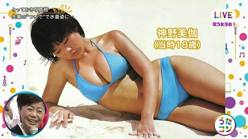 【オッパイキャプ画像】放送事故率80%超えはあるであろう巨乳美女の水着姿ww 05