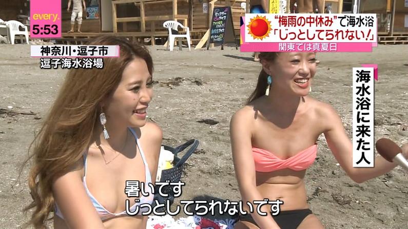 【オッパイキャプ画像】放送事故率80%超えはあるであろう巨乳美女の水着姿ww 22