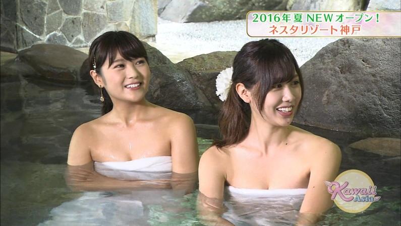 【温泉キャプ画像】バスタオル一枚でテレビに出るとやはり危険は多いのか?ww 10
