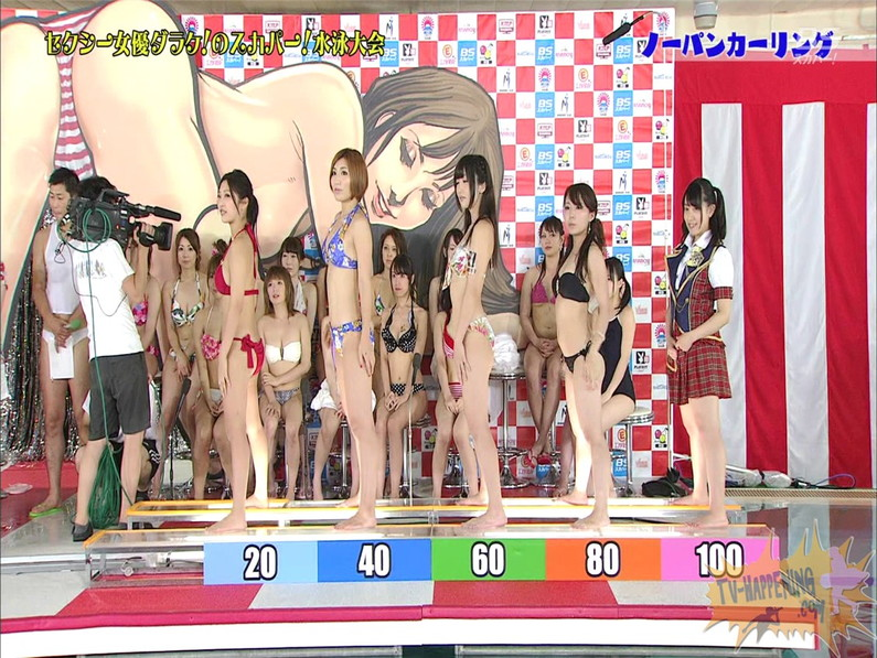 【お宝エロ画像】スカパー水泳大会でアナルが映っちゃってるぞwww(ノーパンカーリング編)