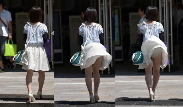 【ハプニングパンチラ画像】突然の突風により思いっきりスカートめくれちゃった素人さんww 19