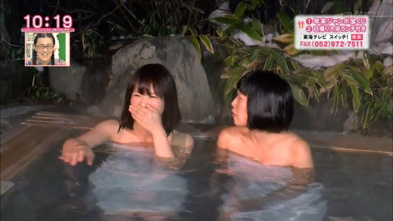 【温泉キャプ画像】温泉番組にバスタオル一枚で出てくる巨乳美女の身体がエロすぎるww 19