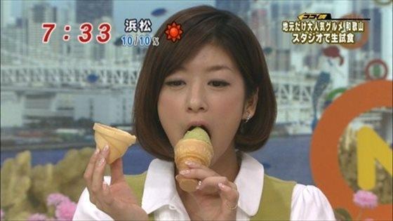【擬似フェラ画像】食レポと言いつつ卑猥な顔をテレビに晒される女子アナやアイドル達ww 10
