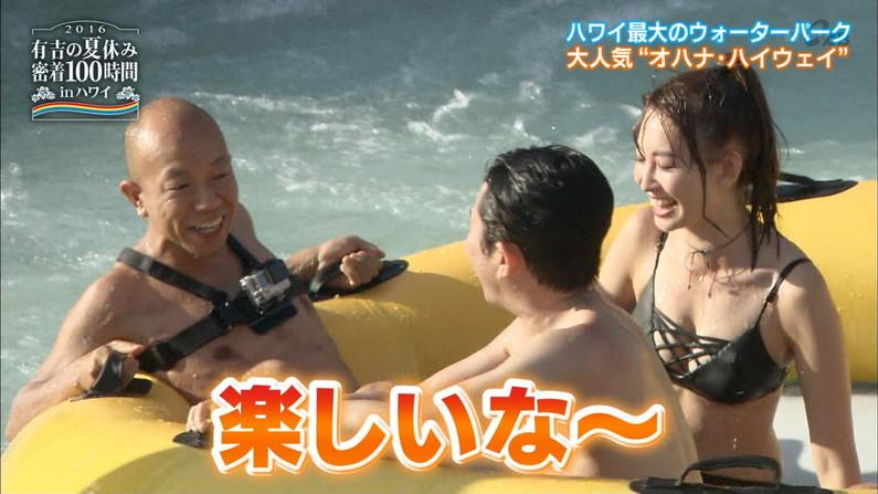 【水着キャプ画像】素人もアイドルも水着からこぼれんばかりのオッパイをテレビでアピールしまくりww