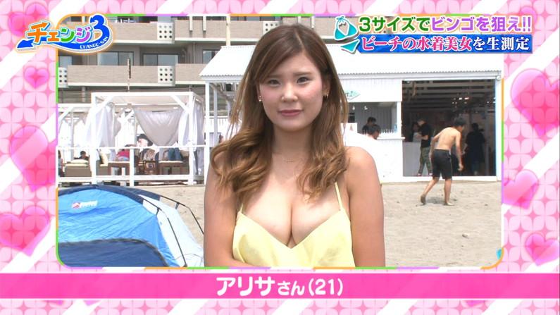 【水着キャプ画像】素人からアイドルまでポロリ寸前の巨乳水着美女達がテレビで視姦し放題ww 08