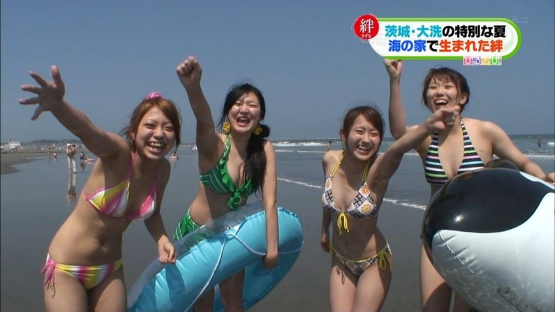 【水着キャプ画像】素人からアイドルまでポロリ寸前の巨乳水着美女達がテレビで視姦し放題ww 16