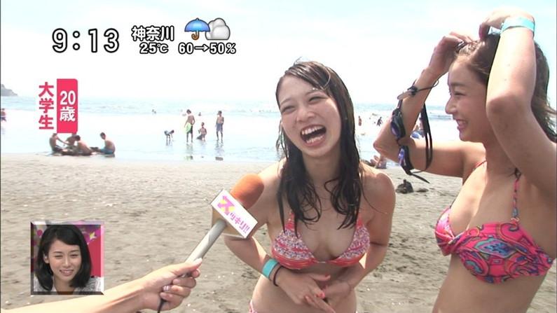 【水着キャプ画像】素人からアイドルまでポロリ寸前の巨乳水着美女達がテレビで視姦し放題ww 18