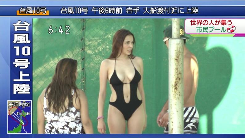 【水着キャプ画像】素人からアイドルまでポロリ寸前の巨乳水着美女達がテレビで視姦し放題ww 22