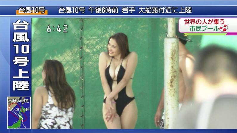 【水着キャプ画像】素人からアイドルまでポロリ寸前の巨乳水着美女達がテレビで視姦し放題ww 23