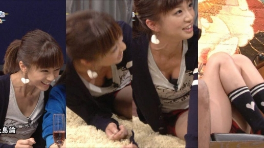 【放送事故画像】テレビに映る胸元がゆるゆるすぎて乳首見えてる女まで出てきたらしいぞw 17