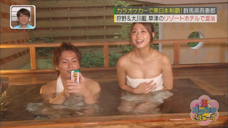 【温泉キャプ画像】ポロリ率高めな温泉レポ!巨乳はみ出し過ぎて乳輪見えそうww 18
