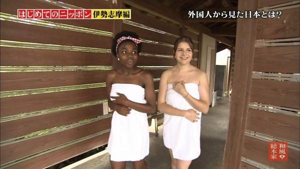 【放送事故画像】バスタオルからはみ出るオッパイが何ともそそられる入浴キャプ画像ww 12