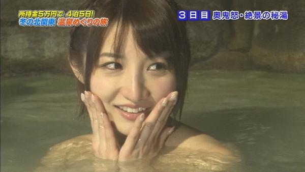 【放送事故画像】バスタオルからはみ出るオッパイが何ともそそられる入浴キャプ画像ww 15