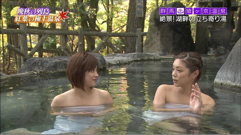 【放送事故画像】バスタオル一枚と言う超無防備な状態でテレビに映る女子アナやアイドル達ww