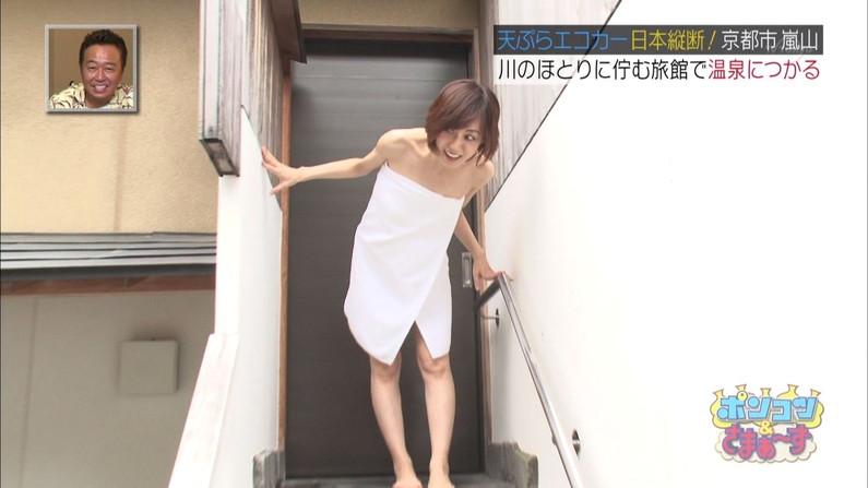 【放送事故画像】バスタオル一枚と言う超無防備な状態でテレビに映る女子アナやアイドル達ww 14