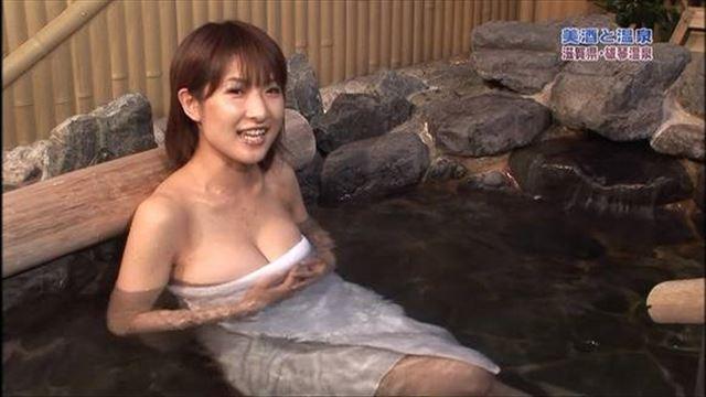 【放送事故画像】ポロリ確率高まる温泉レポート!視聴者の視線が胸元に集まるwww 12