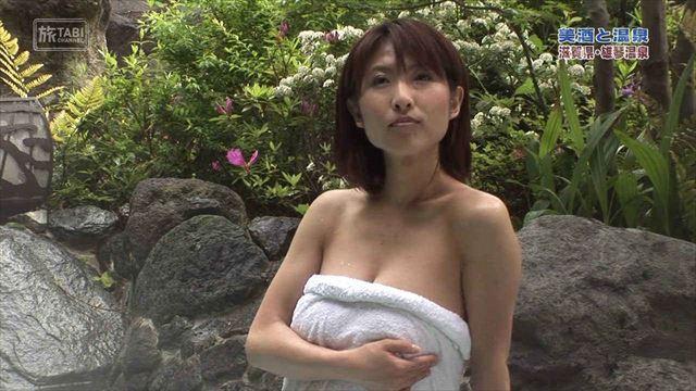 【放送事故画像】ポロリ確率高まる温泉レポート!視聴者の視線が胸元に集まるwww 15
