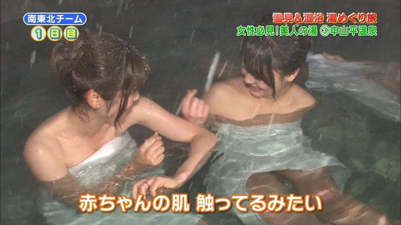 【放送事故画像】温泉レポート中に「見えた!」の連発w映ってしまった女子アナやタレント達w 15