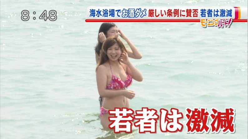 【水着キャプ画像】素人に水着インタビューと称してオッパイ映しまくりのエロインタビューww 08